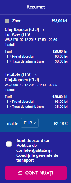 Bilet avion Cluj Tel Aviv