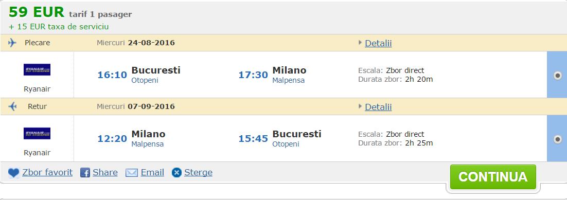 bucuresti - Milano