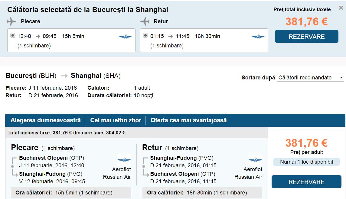 Bucuresrti Shanghai 11 21 feb escala moscova