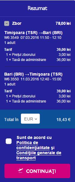 Zbor Timisoara Bari