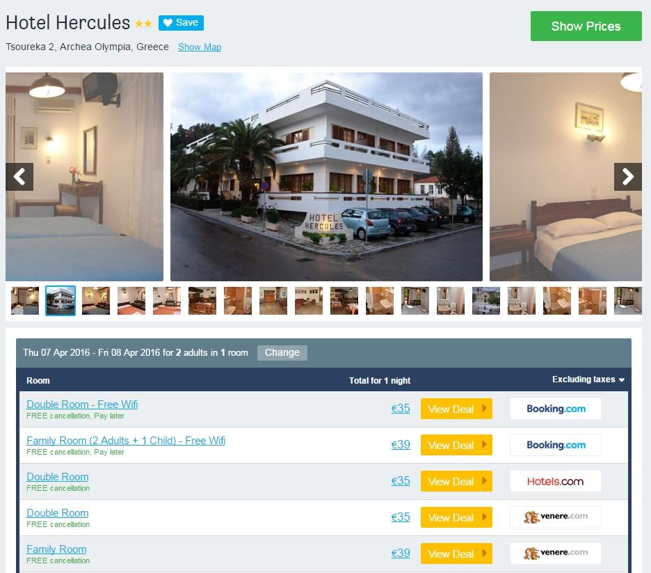 Hotel Hercules - Olympia 35 euro