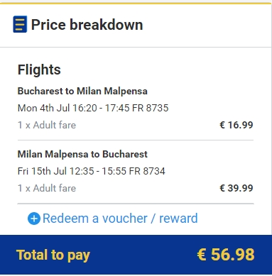 Bucuresti - Milano 57 euro