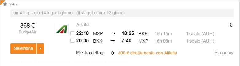 Milano - Bangkok 368 euro