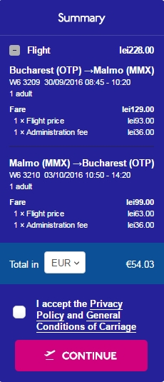 Bucuresti Malmo 54 euro