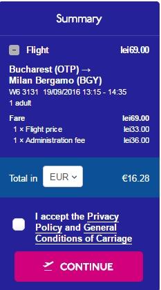 Bucuresti - Milano 17 euro