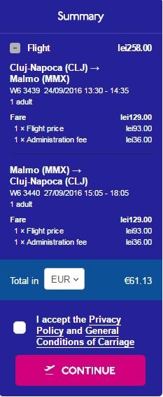Cluj Malmo 61 euro
