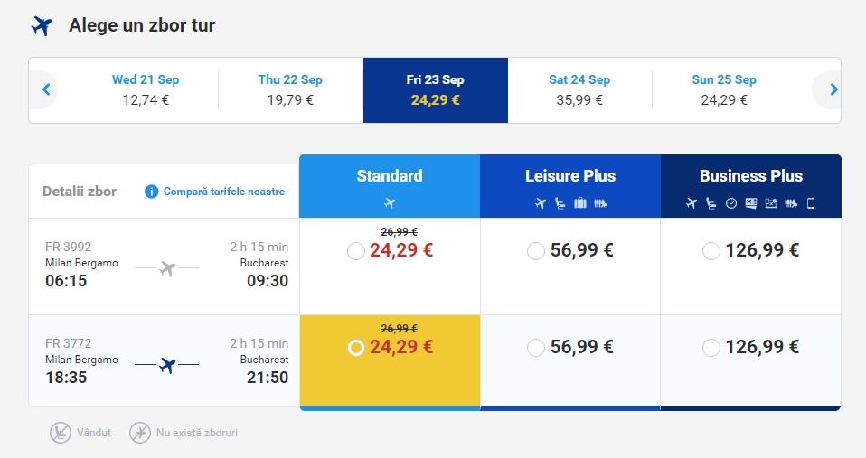 Milano - Bucuresti 25 euro