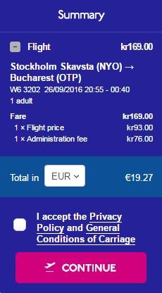 Stockholm - Bucuresti 20 euro