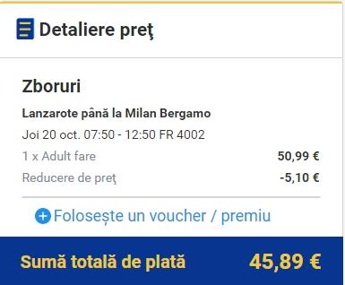 Lanzarote - BGY 46 EURO